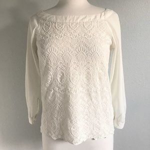 H&M Ivory Lace Boat-Neck Pull-On Blouse, Size 6